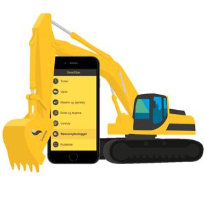 Bilde av en gravemaskin og en mobil med SmartDok