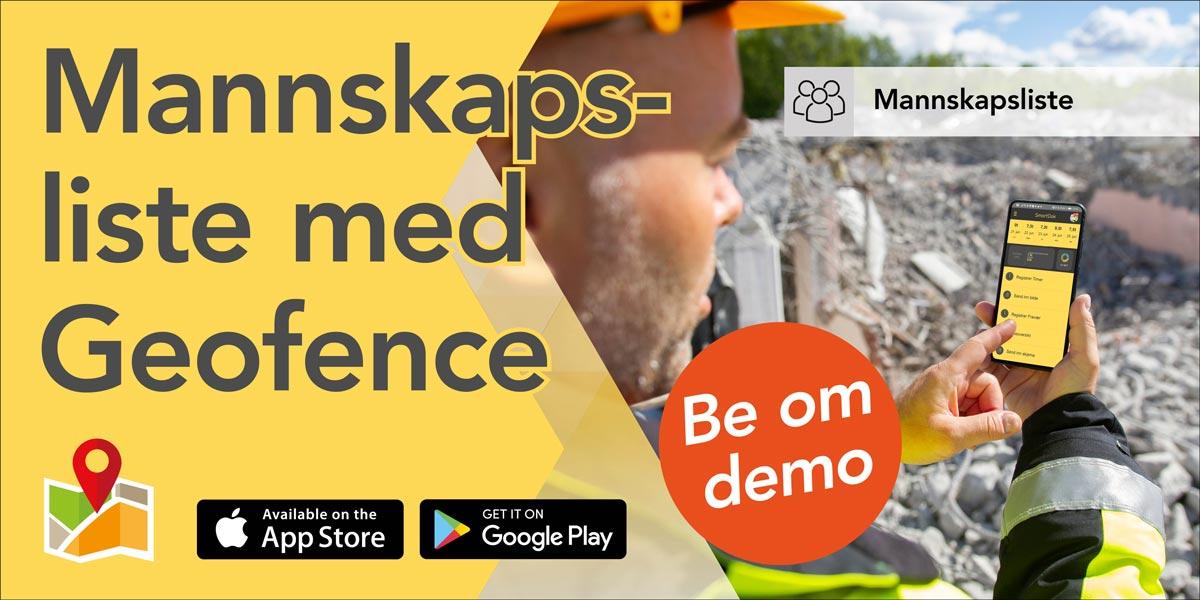 Digital mannskapsliste med Geofence - be om demo